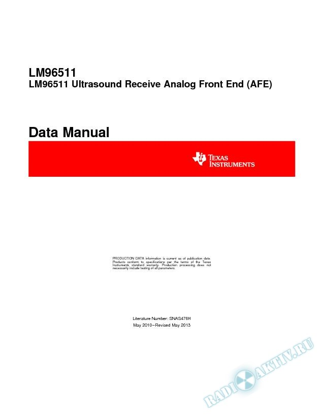 LM96511 Ultrasound Receive Analog Front End (AFE) (Rev. H)