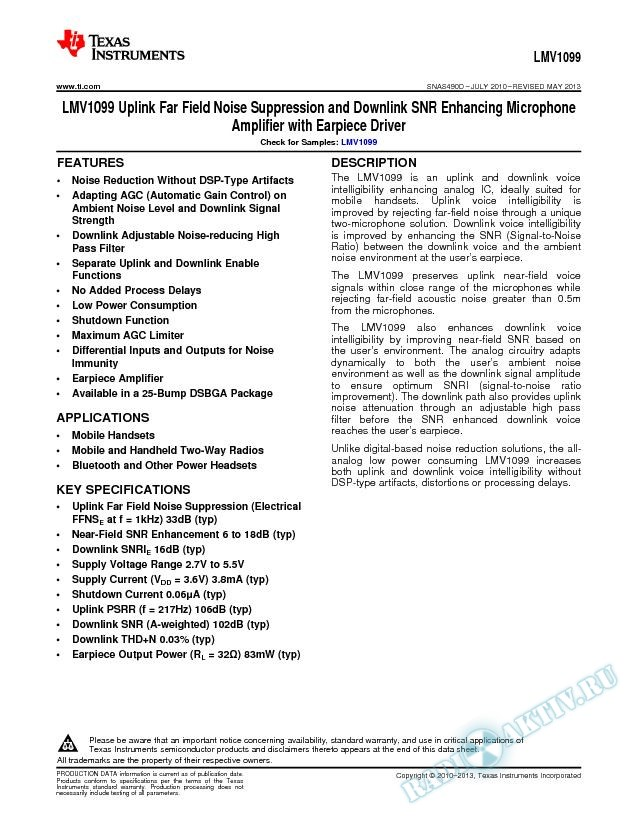 Uplink Far Field Noise Suppression and Downlink SNR Enhancing Microphone Amp (Rev. D)