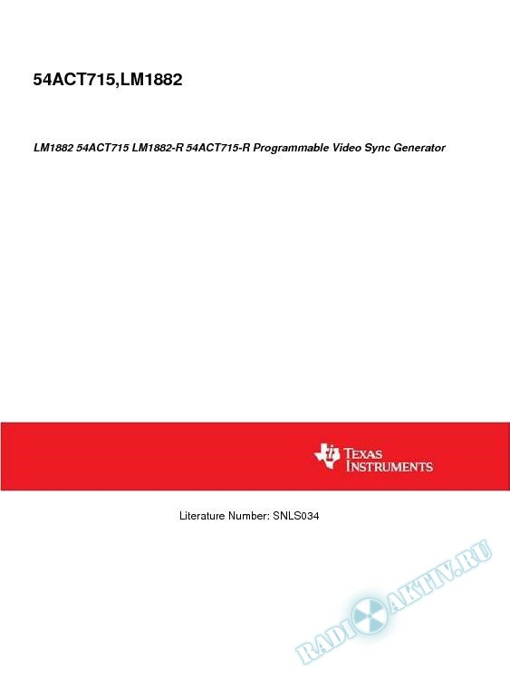 LM1882 54ACT715 LM1882-R 54ACT715-R Programmable Video Sync Generator