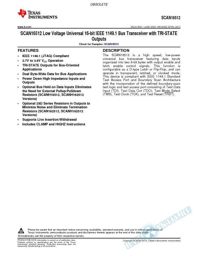 Low Volt Universal 16-bit IEEE 1149.1 Bus Transceiver w/TRI-STATE Outputs (Rev. D)