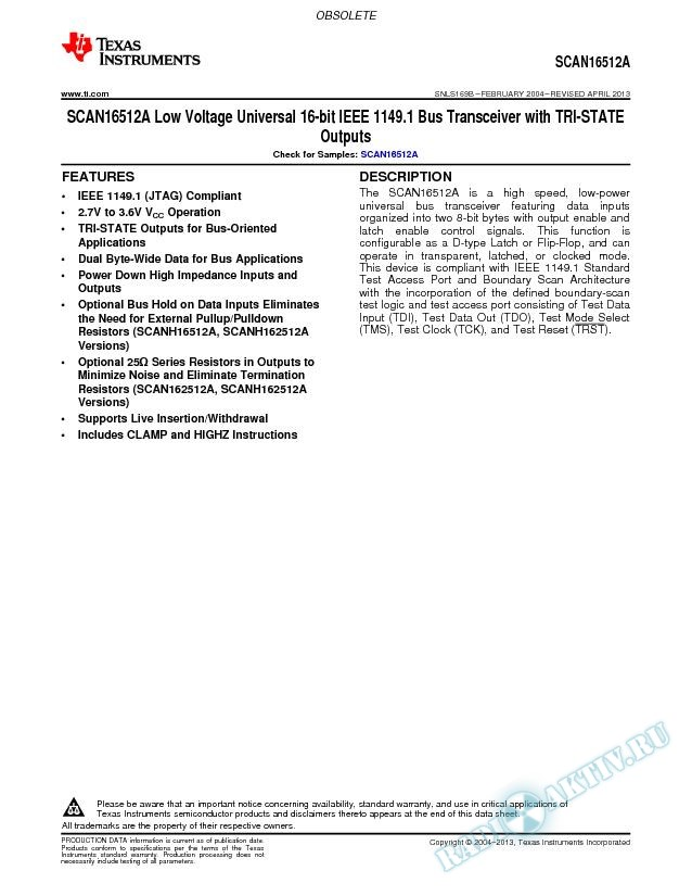SCAN16512A Low Volt Univer 16-bit IEEE 1149.1 Bus Transceiver w/TRI-STATE Out (Rev. B)