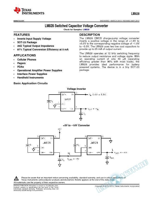 LM828 Switched Capacitor Voltage Converter (Rev. D)