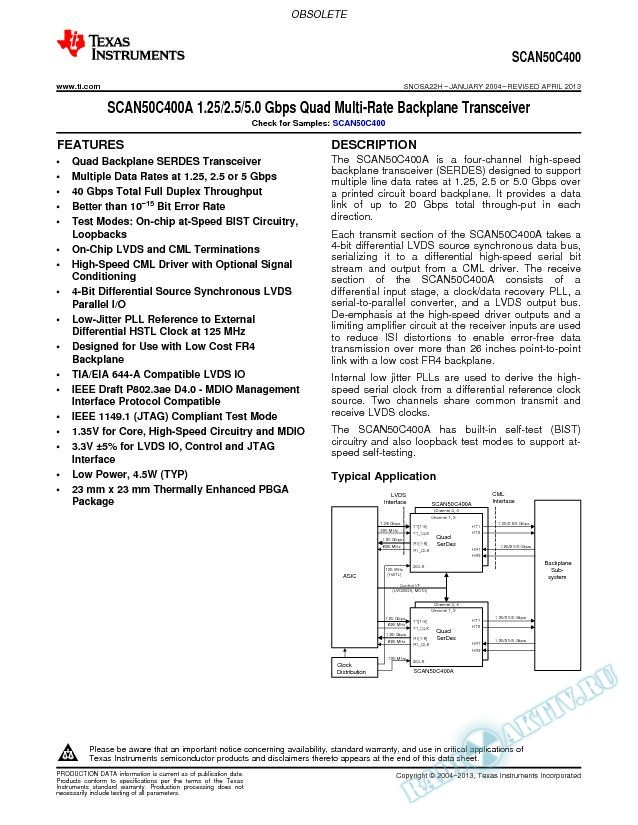 SCAN50C400A 1.25/2.5/5.0 Gbps Quad Multi-Rate Backplane Transceiver (Rev. H)