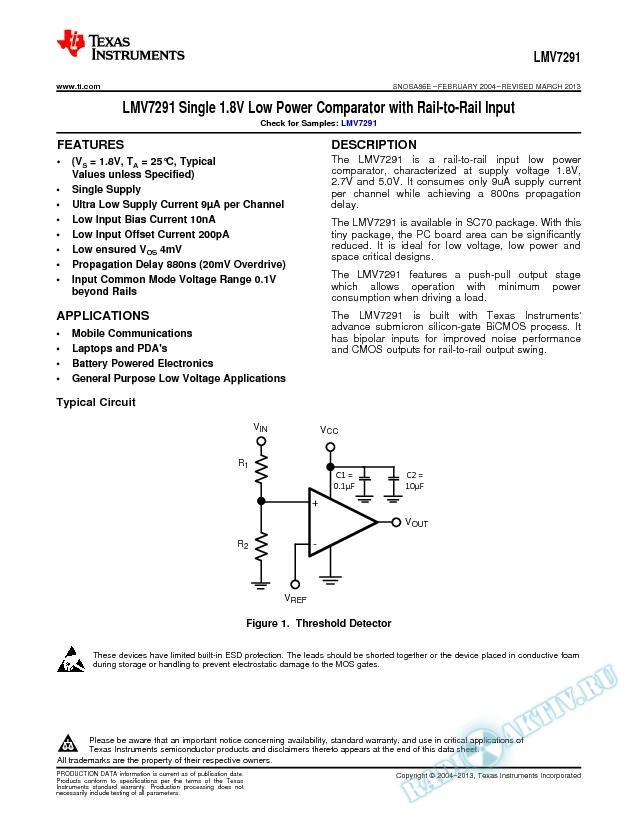 LMV7291 Single 1.8V Low Power Comparator with Rail-to-Rail Input (Rev. E)
