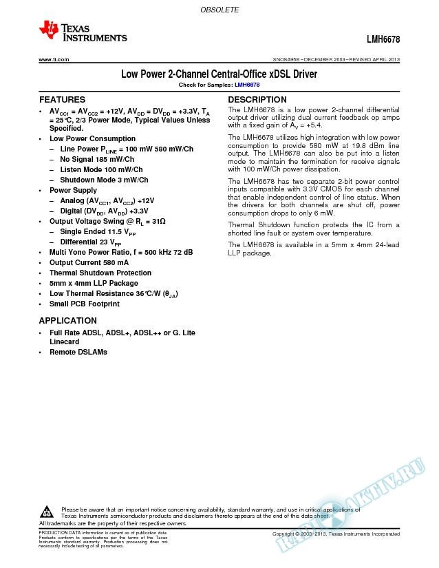 LMH6678 Low Power 2-Channel Central-Office xDSL Driver (Rev. B)