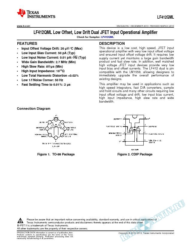LF412QML Low Offset, Low Drift Dual JFET Input Operational Amplifier (Rev. A)