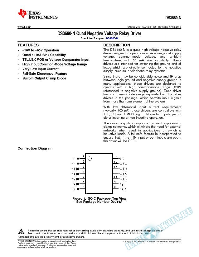 DS3680 Quad Negative Voltage Relay Driver (Rev. D)