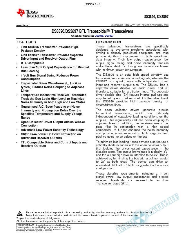 DS3896/DS3897 BTL  Trapezoidal  Transceivers (Rev. D)