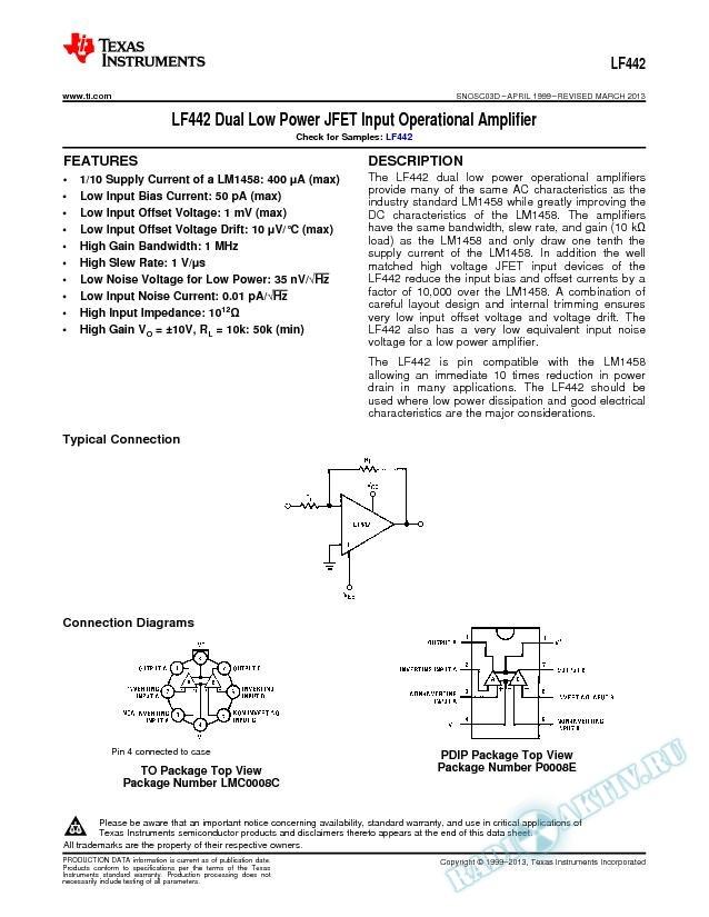 LF442 Dual Low Power JFET Input Operational Amplifier (Rev. D)