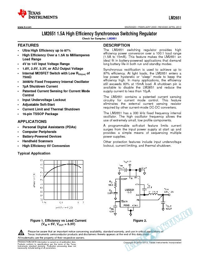 LM2651 1.5A High Efficiency Synchronous Switching Regulator (Rev. D)