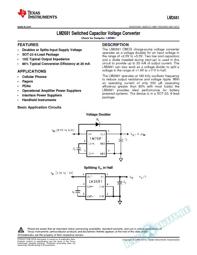 LM2681 Switched Capacitor Voltage Converter (Rev. B)
