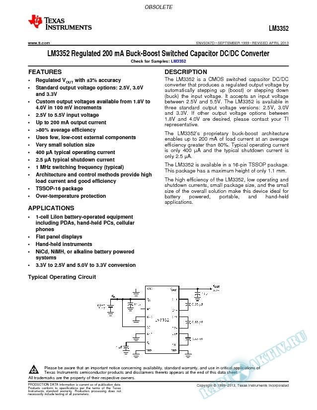 LM3352 Regulated 200 mA Buck-Boost Switched Capacitor DC/DC Converter (Rev. D)