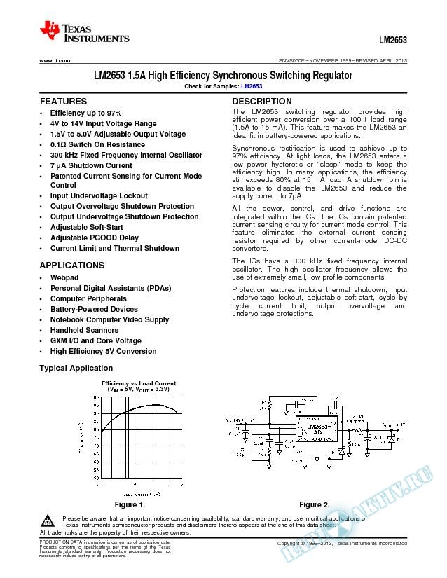 LM2653 1.5A High Efficiency Synchronous Switching Regulator (Rev. E)