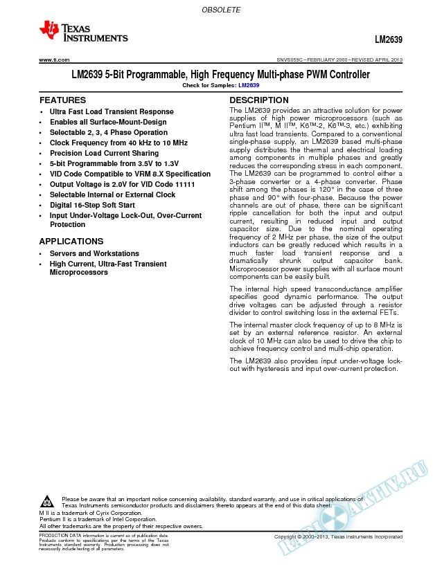 LM2639 5-Bit Programmable, High Frequency Multi-phase PWM Controller (Rev. C)