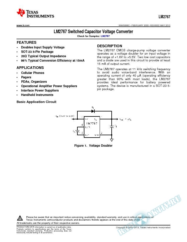 LM2767 Switched Capacitor Voltage Converter (Rev. C)