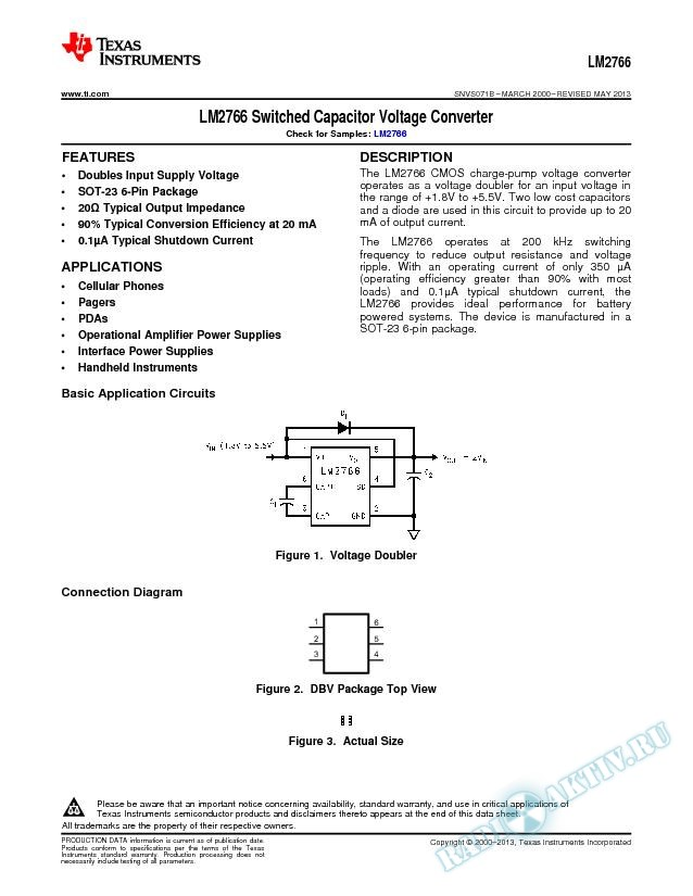 LM2766 Switched Capacitor Voltage Converter (Rev. B)