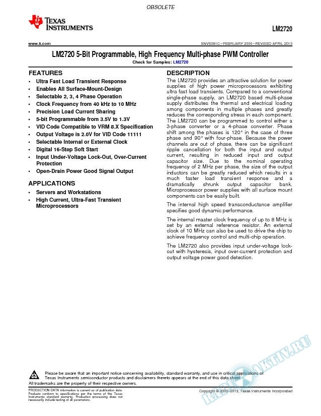 LM2720 5-Bit Programmable, High Frequency Multi-phase PWM Controller (Rev. C)