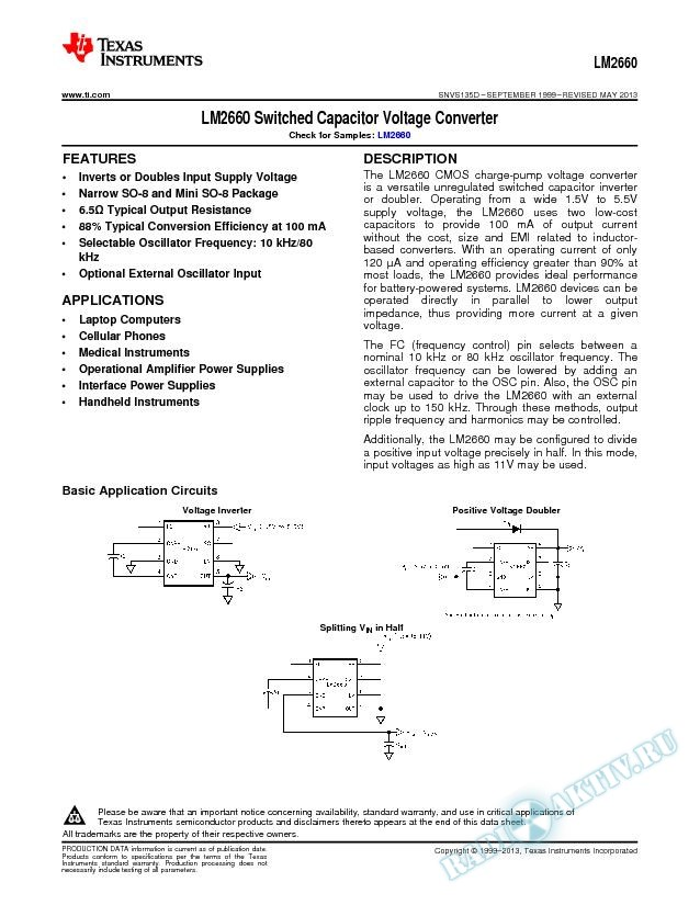 LM2660 Switched Capacitor Voltage Converter (Rev. D)