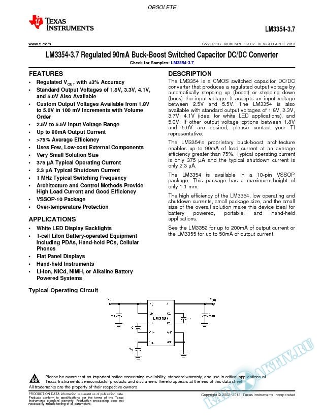 LM3354-3.7 Regulated 90mA Buck-Boost Switched Capacitor DC/DC Converter (Rev. B)