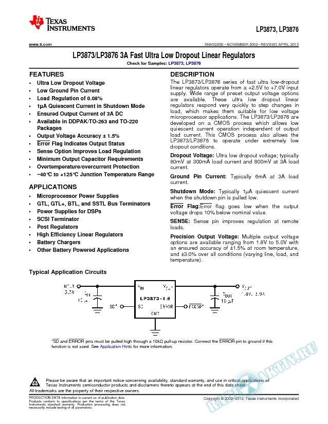 LP3873/LP3876 3A Fast Ultra Low Dropout Linear Regulators (Rev. E)
