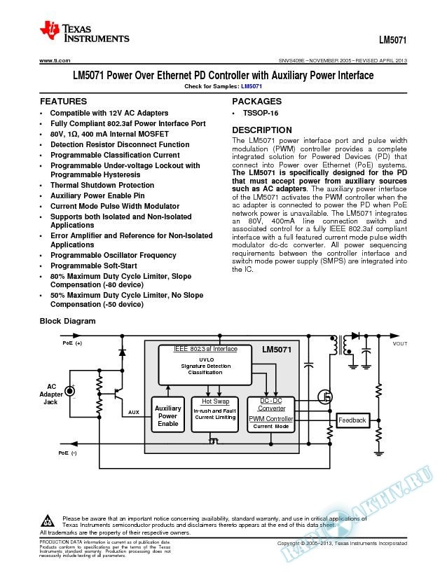 LM5071 Power Over Ethernet PD Controller with Auxiliary Power Interface (Rev. E)