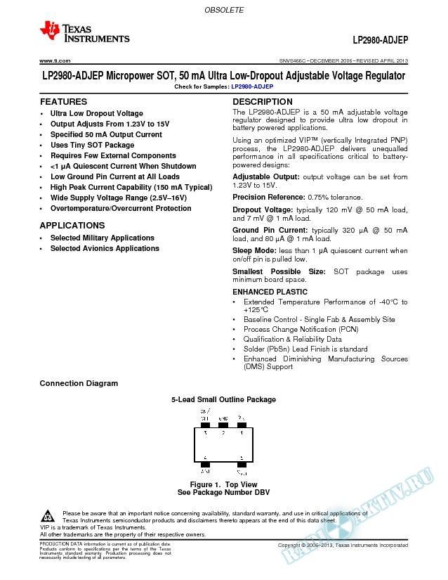 Micropower SOT, 50 mA Ultra Low-Dropout Adjustable Voltage Regulator (Rev. C)