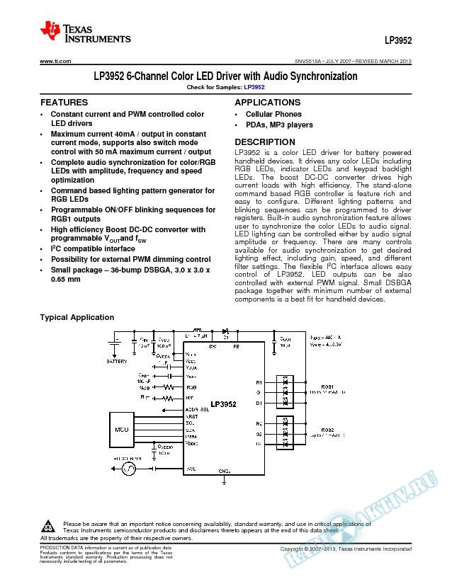 LP3952 6-Channel Color LED Driver with Audio Synchronization (Rev. A)