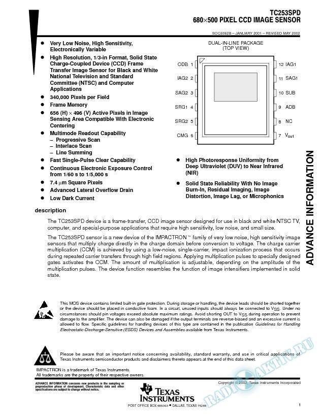 TC253 CCD Image Sensor Data Sheet (Rev. B)