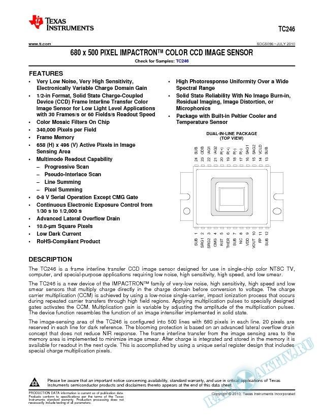 TC246 680 x 500 Pixel Impactron Color CCD Image Sensor