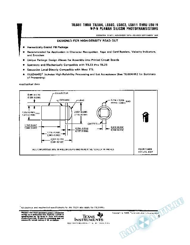 N-P-N Planar Silicon Phototransistors (Rev. A)