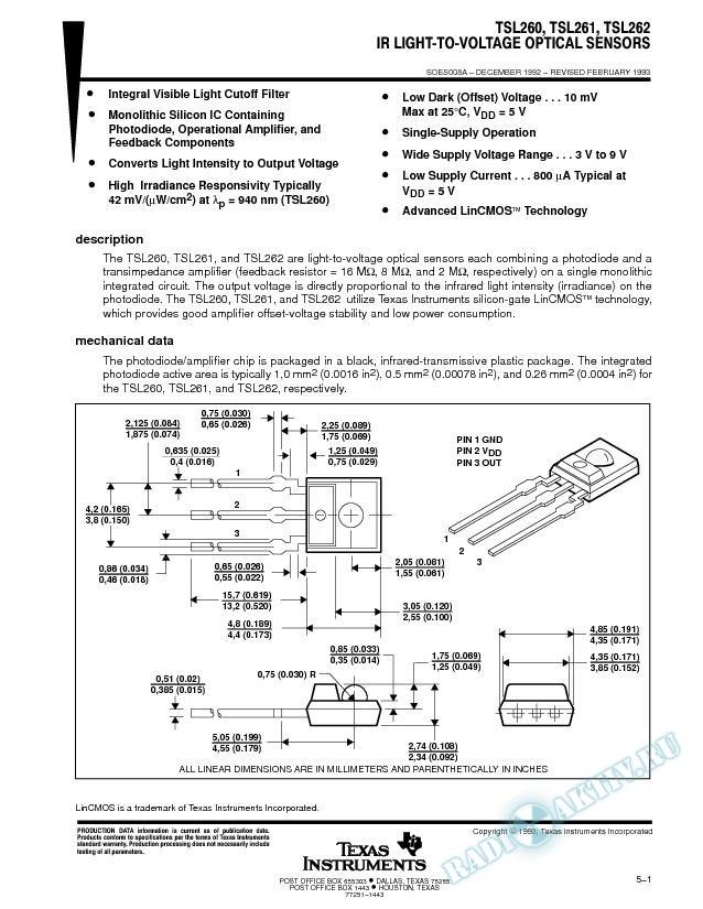 IR Light-to-Voltage Optical Sensors (Rev. A)