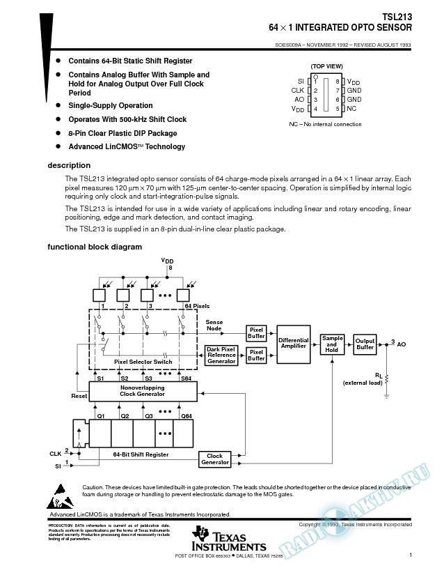 64 X 1 Integrated Opto Sensor (Rev. A)