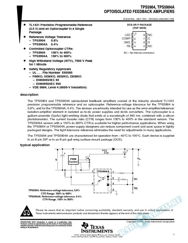 Optoisolated Feedback Amplifiers (Rev. D)