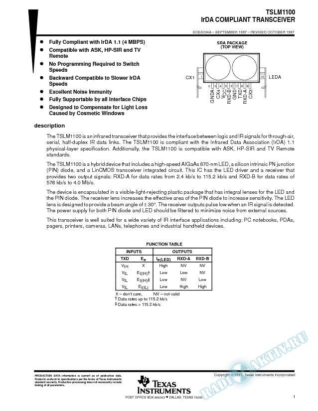 IrDA Compliant Transceiver (Rev. A)