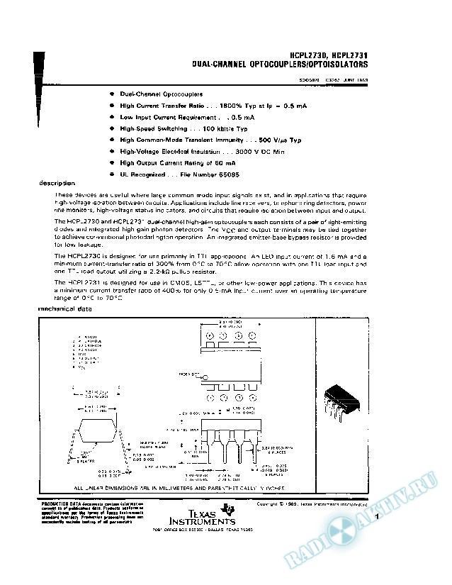Dual-Channel Optocouplers/Optoisolators
