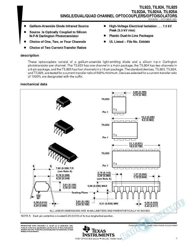 Single/Dual/Quad Channel Optocouplers/Optoisolators