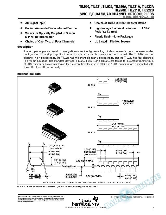 Single/Dual/Quad Channel Optocouplers