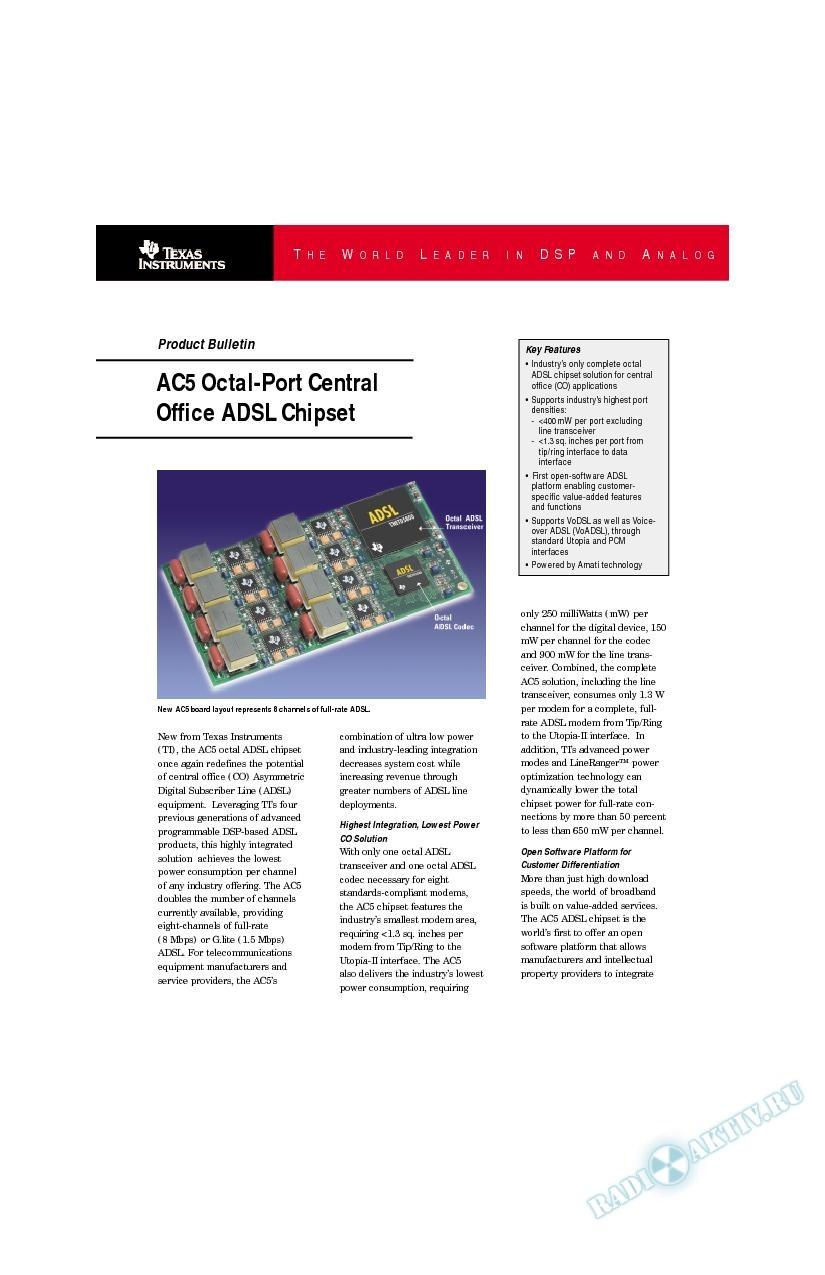 AC5 Octal-Port Central Office ADSL Chipset