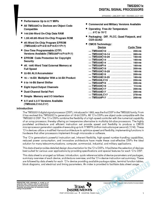 Digital Signal Processors (Rev. C)
