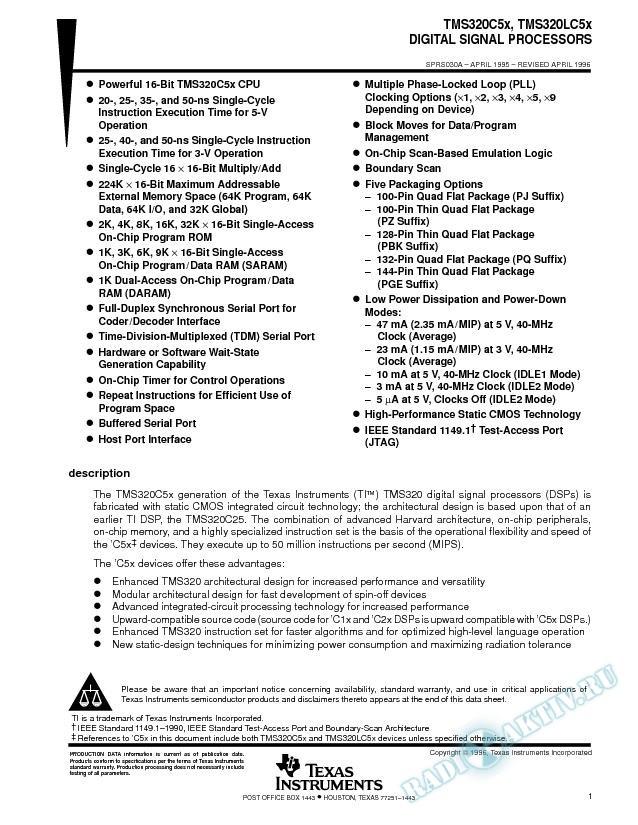 Digital Signal Processors (Rev. A)