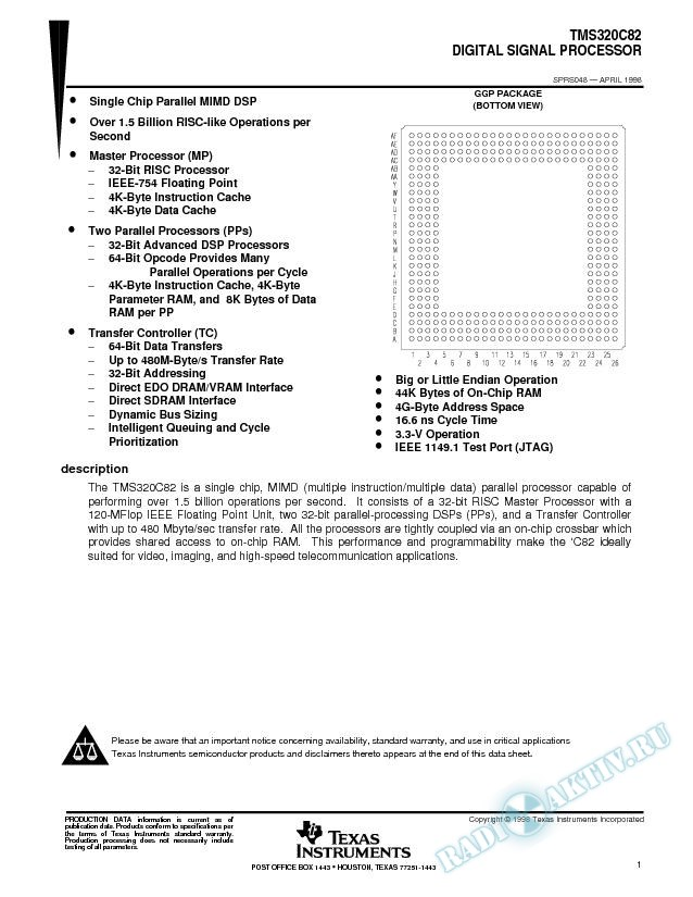 TMS320C82 Digital Signal Processor Data Sheet
