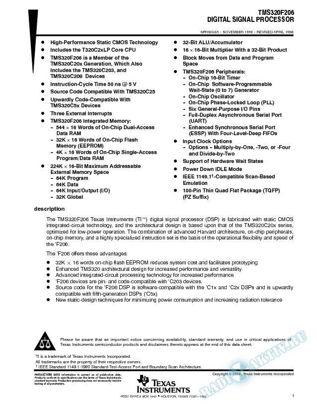 TMS320F206 Digital Signal Processor (Rev. A)