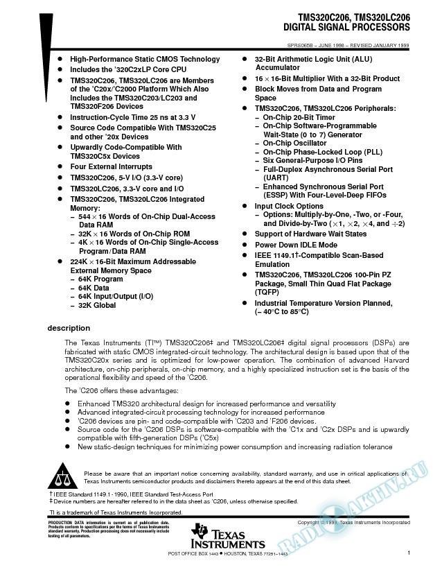 TMS320C206, TMS320LC206 Digital Signal Processors (Rev. B)