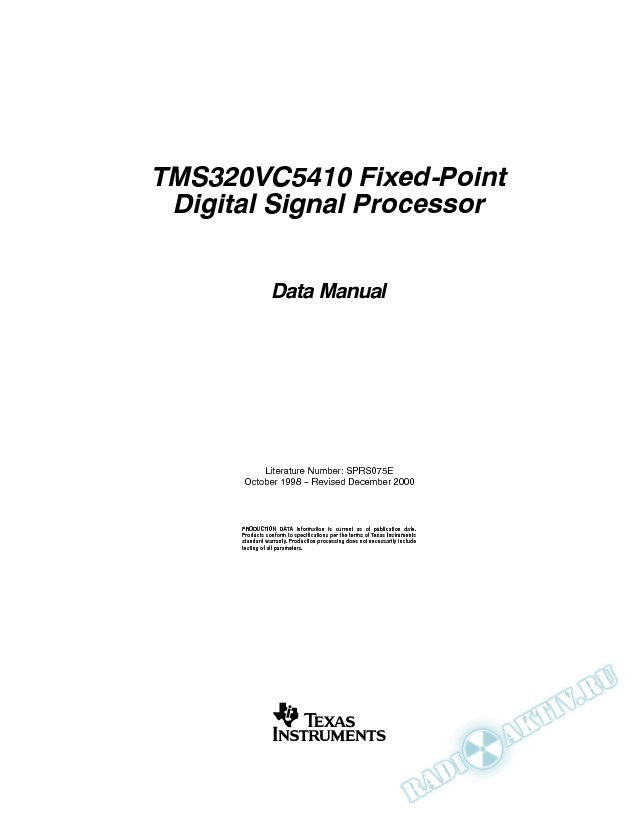 TMS320VC5410 Fixed-Point DSP (Rev. E)