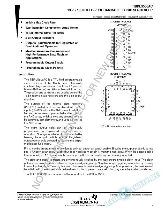 13 X 97 X 8 Field-Programmable Logic Sequencer (Rev. C)
