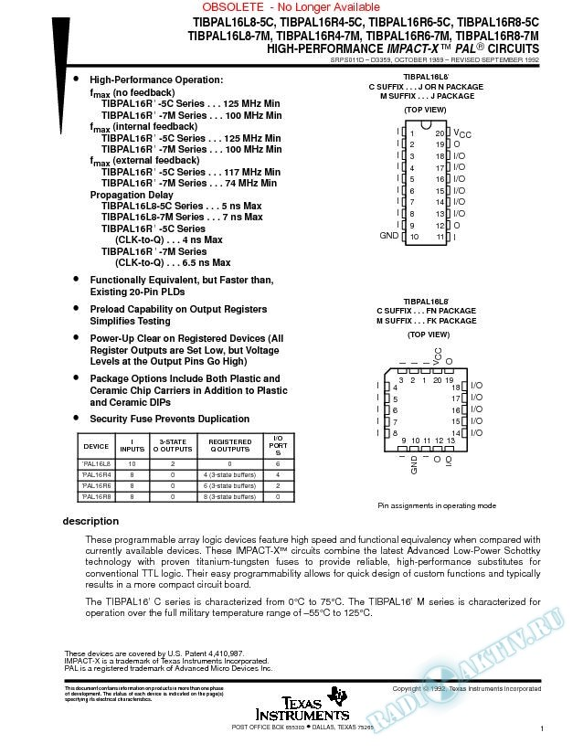 High-Performance Impact-X Programmable Array Logic  Circuits (Rev. D)