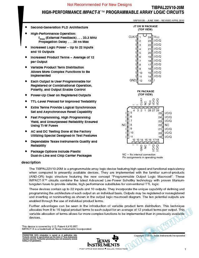 High-Performance Impact-X Programmable Array Logic Circuits. (Rev. B)