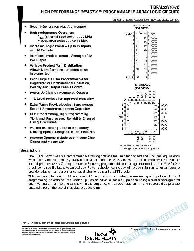 High Performance Impact X Programmable Array Logic  Circuits (Rev. E)