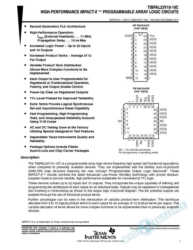 High Performance Impact_X Programmable Array Logic Circuits - TIBPAL22V10 (Rev. A)