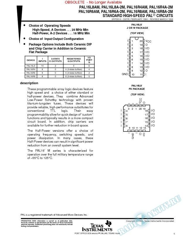 Standard High-Speed Programmable Array Logic  Circuits